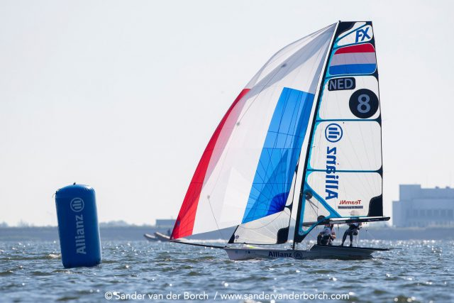 Sunshine and breeze for the second day of racing in the 49er and 49erFX classes